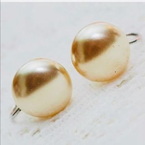 Vintage J&Co Sterling Mabe Pearl Button Earrings
